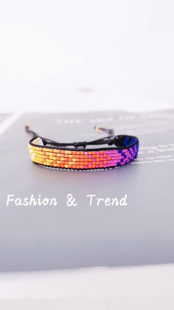 Go2boho — Bracelet en perles classiques tissées, pour femmes, breloques en pierres de rocaille colorées, pour amis