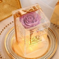beautiful colorful clear acrylic single preserved rose flower box