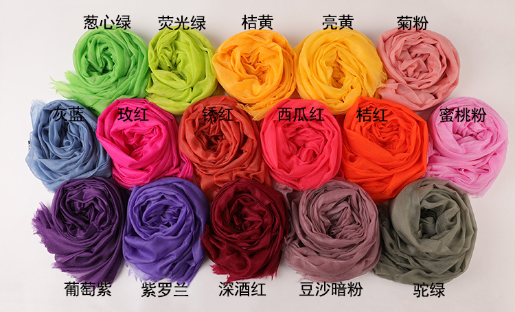 230-100cm 300s 60g winter  warm pure color  pure cashmere Shawl water ripple scarves ladies autumn long  women scarf