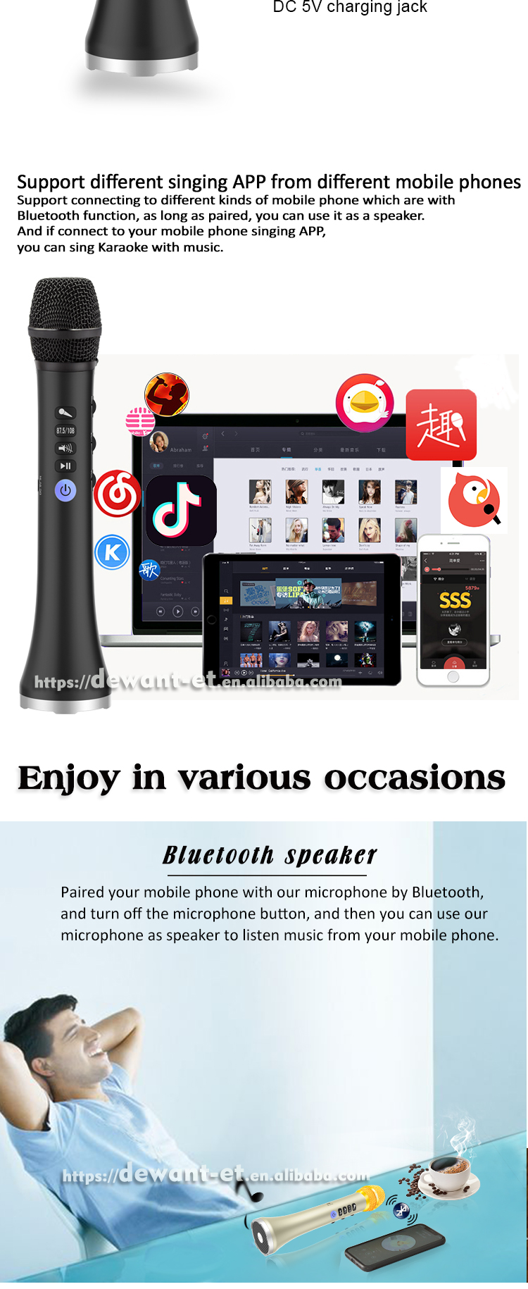 L-698DSP 20W  mobile phone mic microphone smart wireless mic for smart phone