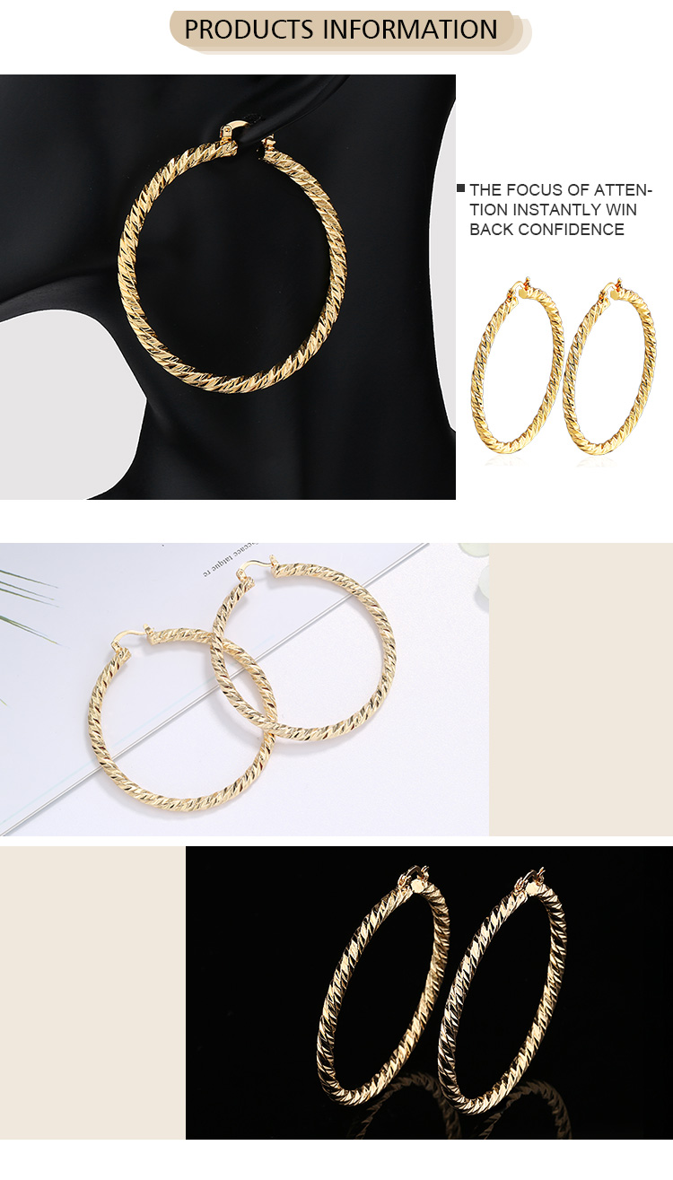 Custom Jewelry Wholesale Fashion High Quality 18K Gold Plated Copper Twisted Hoop Earring