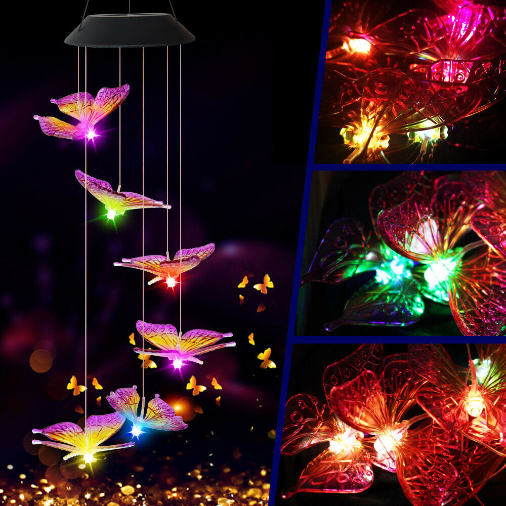 6 LED Solar Color Changing Wind Chimes Lights Outdoor Garden Decor Hanging Lamps