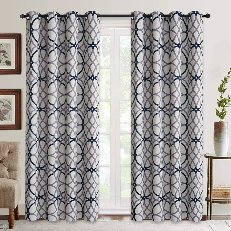 Geometric Pattern Blackout <strong>Curtain</strong> <strong>For</strong> Bedroom Thermal Insulated Drapes 2 panels