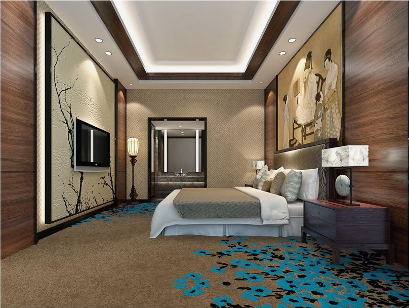 Guangzhou Foshan Hotel Guestroom Carpet and Sauna Room Carpet with Blue Plum Flower Design