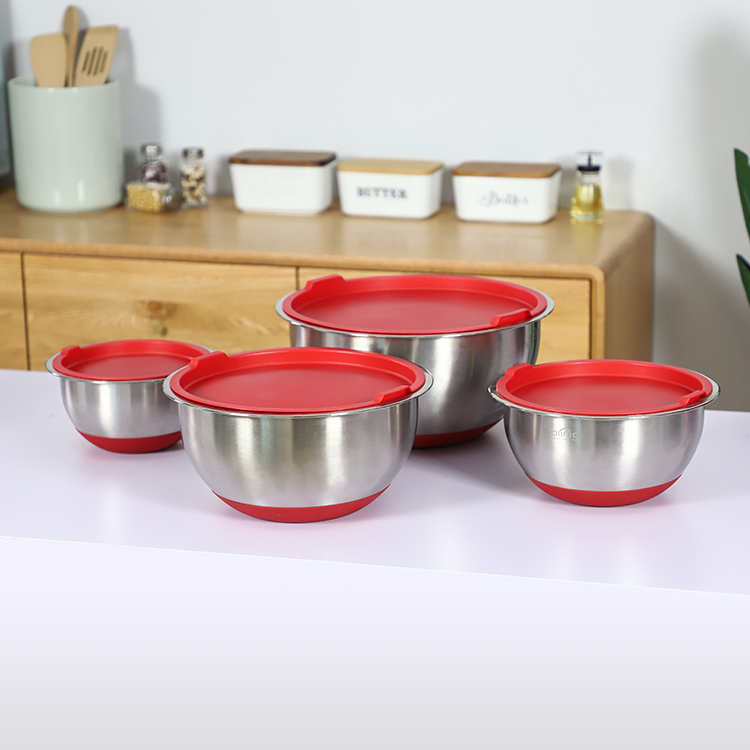 Factory direct sale kitchen multifunctional bowl 4 piece stainless steel mixing salad bowl with lid