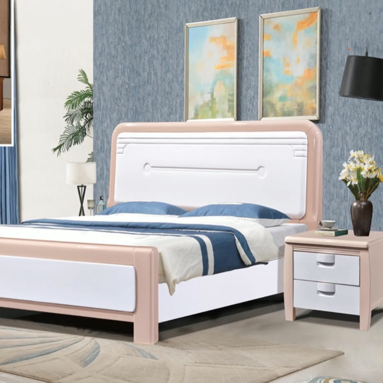 Bedroom Set Furniture Double Queen Size Luxury Wood Bed Frame Modern