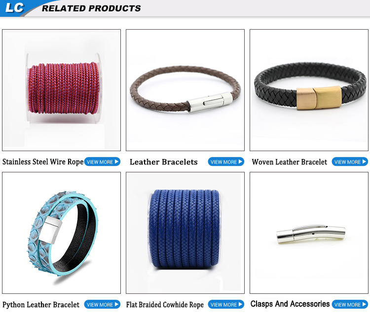 Women Fashion Mixed Color Flat Wide Braided Leather Bracelet With Stainless Steel Clasp