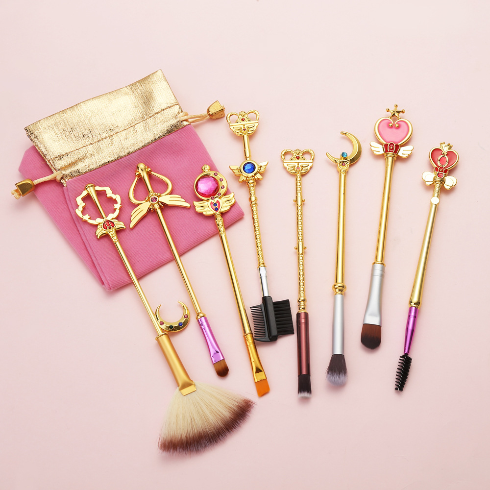 2019 <strong>Best</strong> seller professional private label eyeshadow make up metal <strong>brush</strong> 8 piece Sailor Moon makeup <strong>brush</strong> set