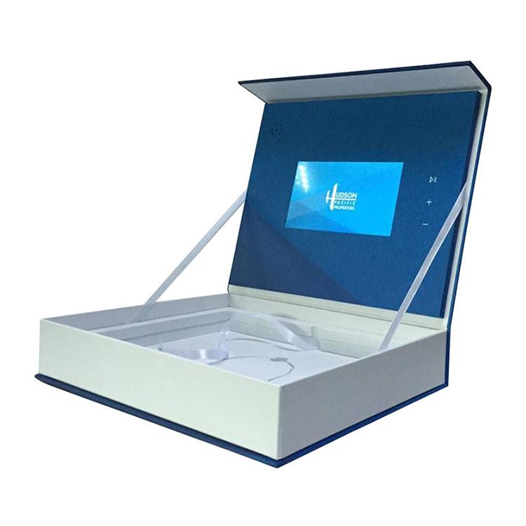 कस्टम मुद्रण प्रचार 7 इंच वीडियो विवरणिका एलसीडी वीडियो उपहार बॉक्स
