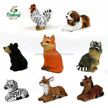 Handmade art mind gifts souvenir and home decoration carved wooden animal handicraft sculpture