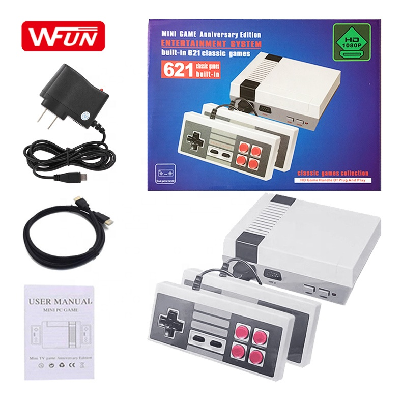 HD Output Family TV  Mini Boy's Nintendo Video Game Consoles Built-in 621 Retro Classis Games with Double Handles for 2 Players