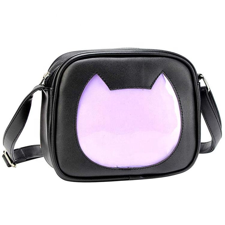 Custom Fashion Casual Cute Cat Shape PU Leather Crossbody Ita Bag with Insert and Clear Window