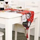 Hot Sale Christmas Polyester Table Runner With Tassel Xmas Ornaments Boutique
