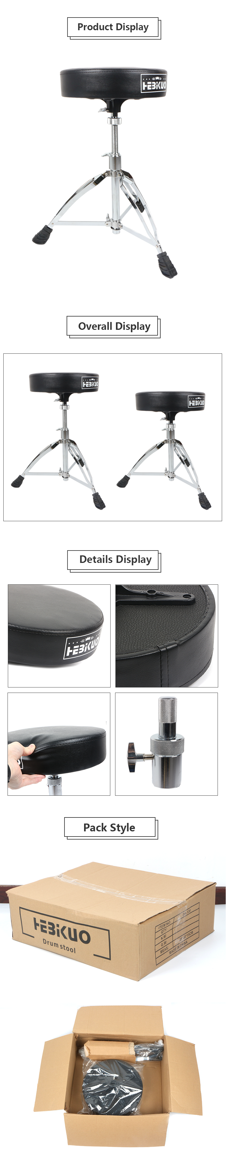 High Quality Music Instrument Adjustable Drum Stool With Metal Stand
