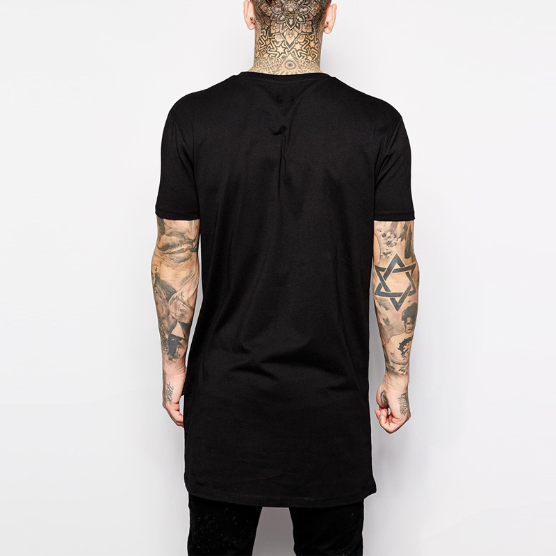 2019 Brand New Clothing Mens Black Mens Long T shirt Tops Hip Hop Man T-shirt Short Sleeve Casual Men Tee shirts For Male