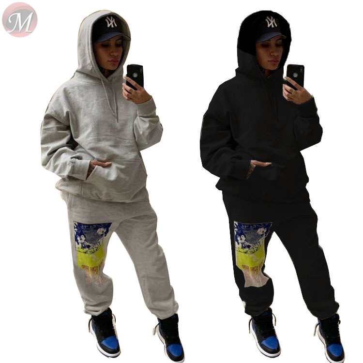 9121810 fashion casual sportswear long sleeve hooded loose graffiti streetwear 2 Piece Set Women Clothing