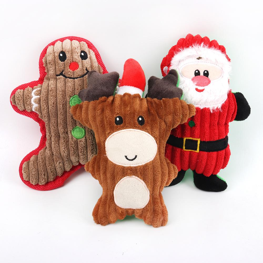 UMA nova coleção De Natal do molar-mordida bonito dos desenhos animados de pelúcia brinquedo do cão do animal de estimação