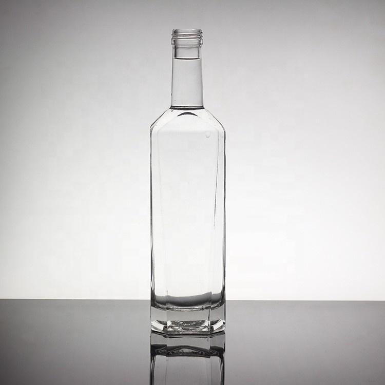 Botellas de cristal de licor de 700ml 750ml personalizadas con tapas en T o tapas de tornillo
