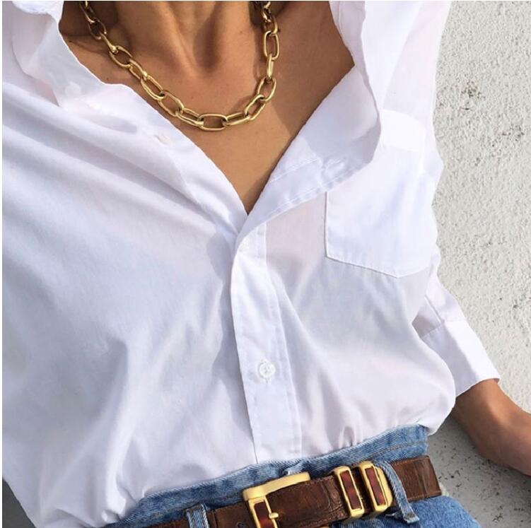 2020 Trendy Women Stainless Steel Gold Plated Punk Chunky Curb Link Necklace OT Clasp Toggle Big Rectangle Oval Chain Necklace