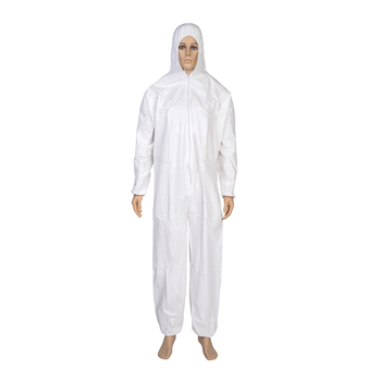 Waterproof SF White Disposable Safety Microporous Coverall With Hood