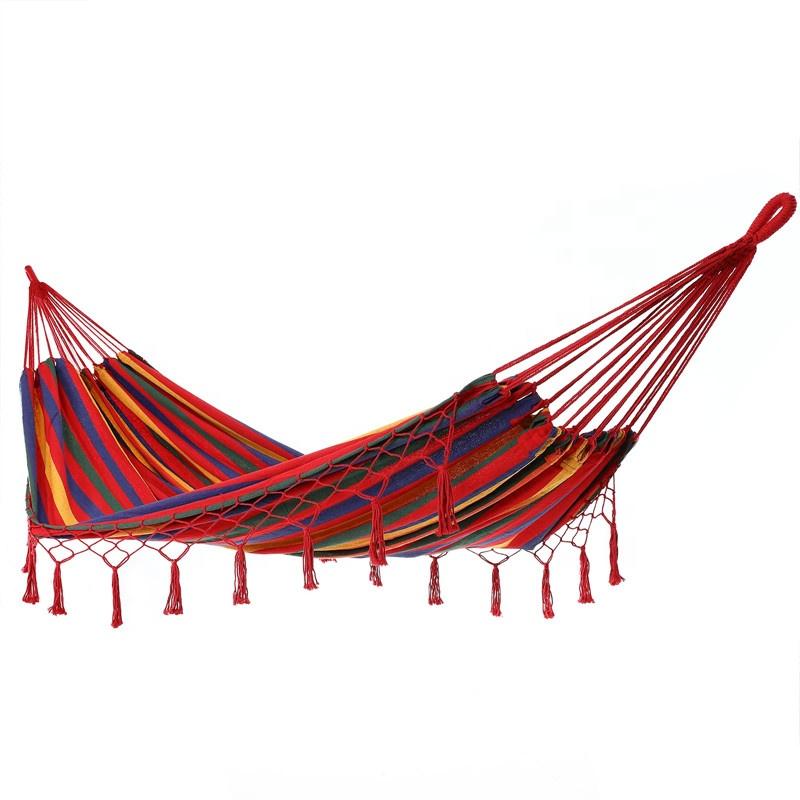 Cotton Rope Modern Canvas Macrame Camping Hammock With Fringe Tassel