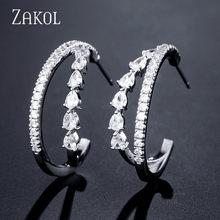 Женские серьги ZAKOL, модные серьги-капельки из кубического циркония AAA, T, обруч с камнем, FSEP3057(Китай)