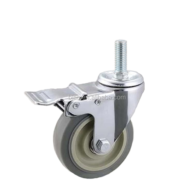 5Inch Swivel Top Plate Braking Grey TPR Medium Duty Caster