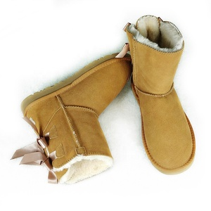 Best seller beautiful women and girls snow lady boots with silk ribbons