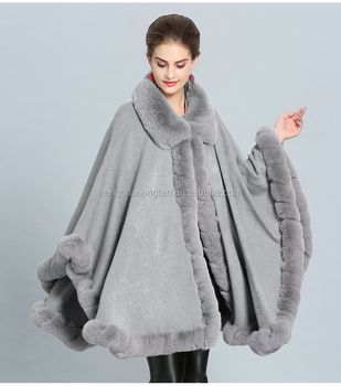 Fashionable New faux fur and Cashmere Poncho Female Warmwinter wedding faux fur cape