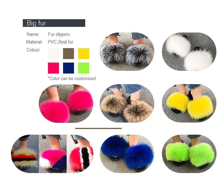 Women Fur Slippers Rainbow Fur Slides Real Fox Fur Sandals Fluffy Raccoon Home Slippers Ladies Sweet Cute Fuzzy Plush Shoes