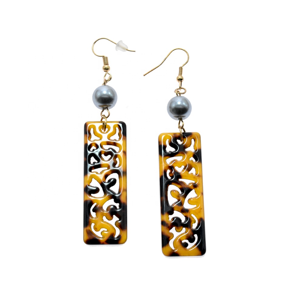 New carving pattern earring acetate acrylic celluloid earring black grey tahitian loose pearl tortoise shell earring