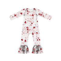 2019 Valentine's Day Newest Print Sweet Heart Baby Body Suit Long Sleeve And Pant Design Newborn Romper Autumn Wear