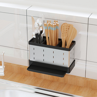 Space Aluminum Material Wall Mounted Black Color Kitchen Cabinet Rack of wall mounted knife rack chopsticks basket