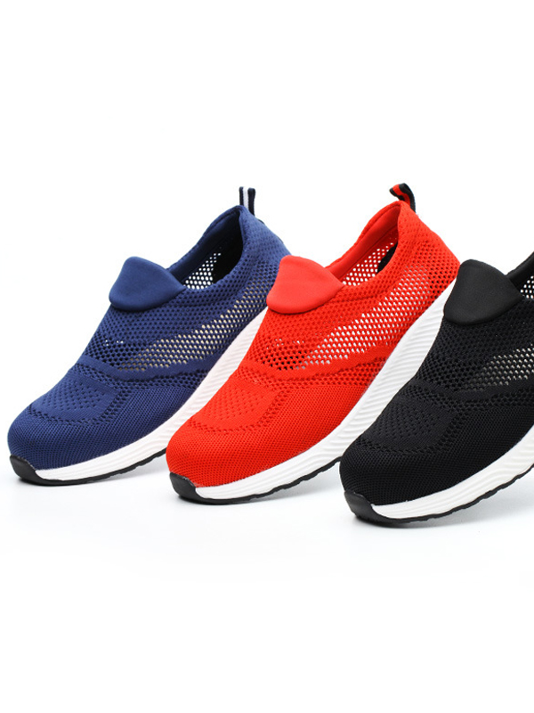 SF9005 big size unisex mesh slip on hollow light weight steel toe summer safety shoes industrial