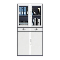 Office Furniture Metal Storage Cabinet customized sliding glass door file cabinet Steel Filing Cabinets