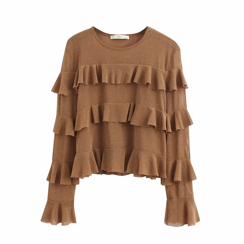 TX200 new 2020 spring fashion sweet ruffles long sleeve o neck pullover t shirt women's solid o neck casual t-shirts tee tops