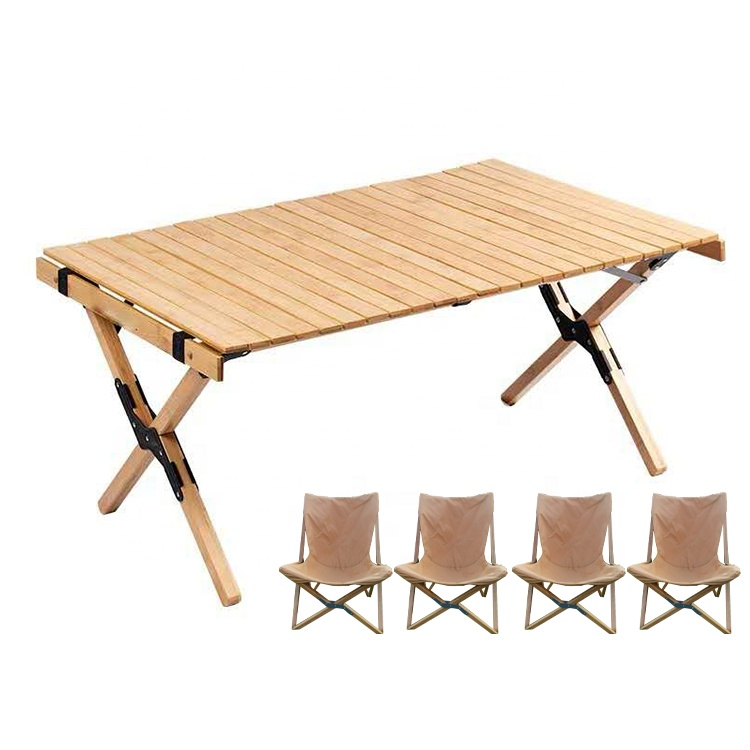 Wood Outdoor Picnic Table Camping Table Portable Folding Picnic Table Set