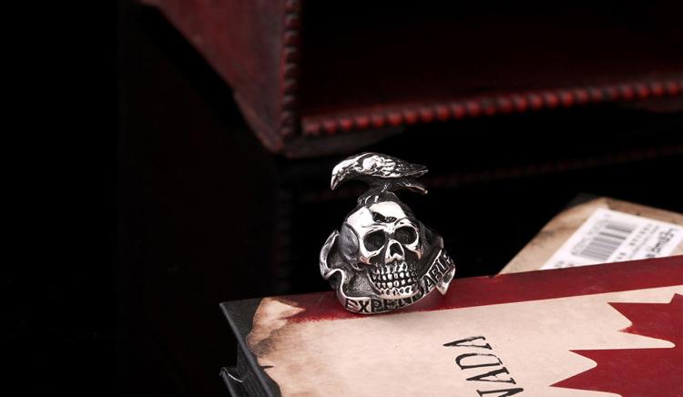 Projeto Original do estilo punk corvo Crânio de Aço Inoxidável Sliver/cor do Anel de Ouro para Homens