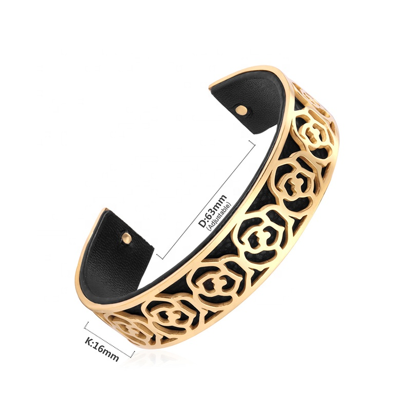 product-BEYALY-Best Price Flower Engraved 18K Gold Bracelets Leather Bangle For Men-img