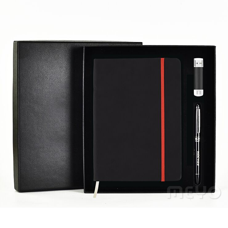 High end promotionele corporate giveaway items lederen notebook pen usb flash drive gift set