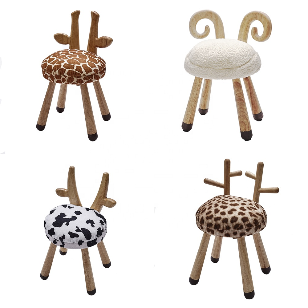kids bedroom decorative furniture wooden cute sheep cow giraffe sika deer animal shape chair