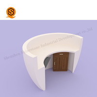 White Stone Semi-circular reception counter modified acrylic stone front reception desk design