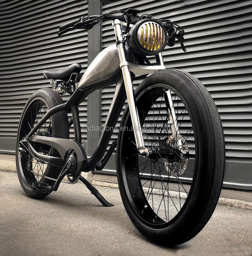 Poignée Moto Universel Cross Custom Vintage 22mm pour Harley Yamaha Noir