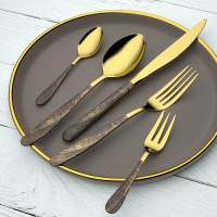 Yifan Founder Bulk Gold Flatware Modern Gold Forks And Knives Set With 1810 Stainless Steel