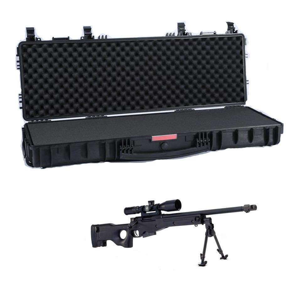 Hard rifle plastic waterproof handle hard gun case with wheels
