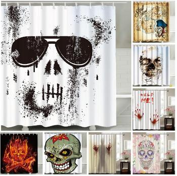 Polyester Digital Printing Fabric Scared Skeleton Customized Thriller Shower Curtain 71*78 inch