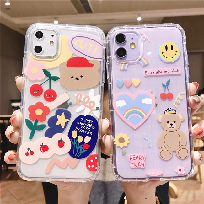 Cartoon Beer Regenboog Soft Tpu Leuke Mooie Clear Case Back Cover Phone Case Voor Iphone 11 Pro Max Xr