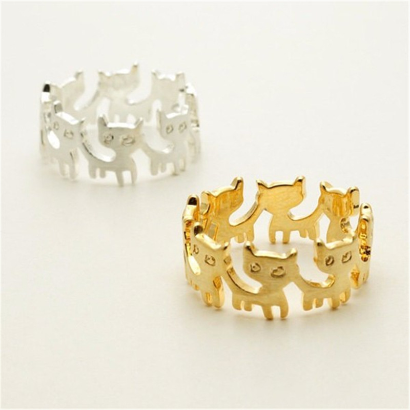 Latest Creative Design 18K Gold Plating Stacking Cat Rings Hollow Multi Animal Cat Rings For Women Men Unisex