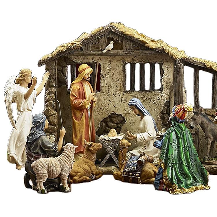 Qualidade Premium Santo estatueta família Religiosa Resina Ornamento Do Natal Natividade Conjuntos