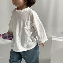 Футболка для маленьких девочек; Одежда для маленьких мальчиков; Свободные топы с длинными рукавами; Детская хлопковая рубашка с карманами; ...(Китай)